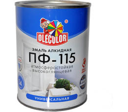 Эмаль акр. ПФ-115 OLECOLOR белая 0,8 кг