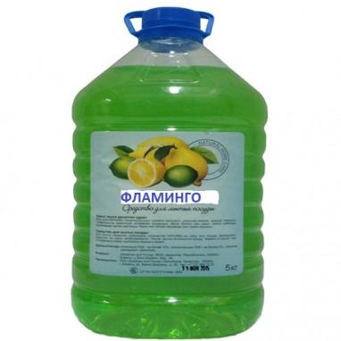"""Гель для мытья посуды """"Фламинго"""" Лимон  5 л"""